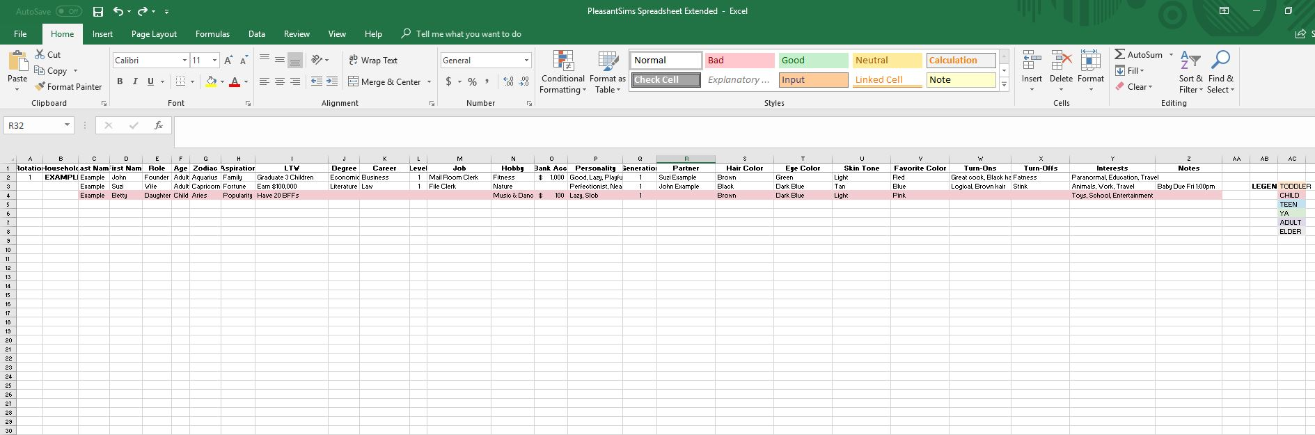 Sims 2 Extended Spreadsheet