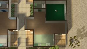 Closeup of the Green Apartment in The Sims 2 Strangetown Arms Apartments by Pleasant Sims
