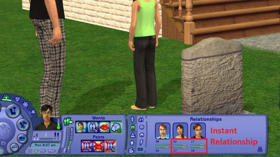 Sims 2 Instant Relationship with Tombstone of L and D