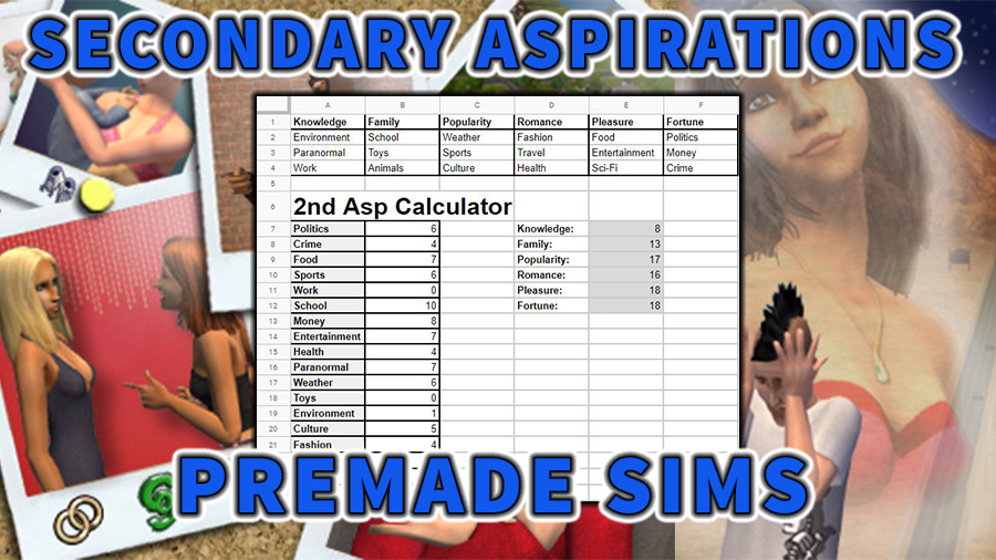 Aspirations Sims 2 Premade Sims